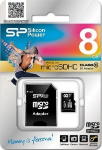 Karta pamięci MicroSDHC Silicon Power 8GB Class 10 + adapter (SP008GBSTH010V10SP)